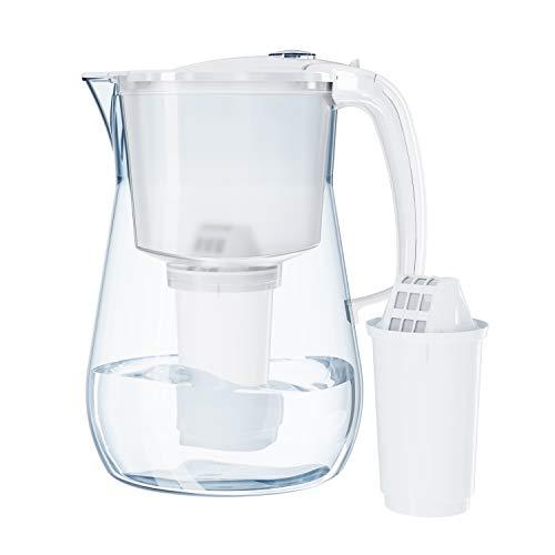 Aquaphor Provence wit incl. 1 A5 filterpatroon premium waterfilter in glaslook voor het verminderen van kalk, chloor en…
