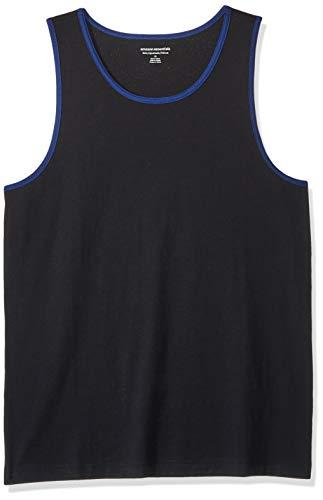 Amazon Essentials Men's Slim-Fit Ringer Tank Top, Black/Blue, Medium ()