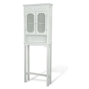 Elegant Home Fashions Lisbon Collection Shelved Bathroom Space-Saver, White