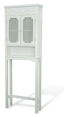 White Bathroom Furniture - Elegant Home Fashions Lisbon Collection Shelved Bathroom Space-Saver, White