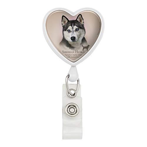 (Siberian Husky Dog Breed Heart Lanyard Retractable Reel Badge ID Card Holder - White)
