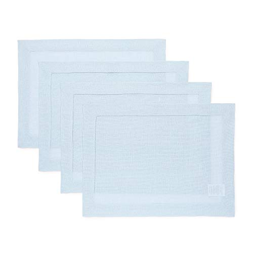 Solino Home Hemstitch Linen Placemats - Light Blue Set of 4, 14 x 19 Inch 100% European Flax Natural Fabric - Machine Washable Placemats - Handcrafted with Classic Hemstitch & Mitered Corners (Light Blue Placemats)