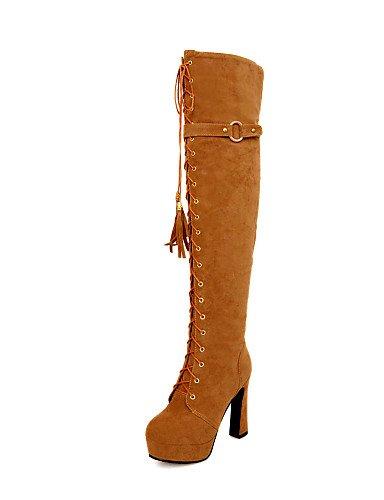 De Xzz Eu36 marrón Brown Cn36 Vestido Cuero Punta Zapatos Uk6 Eu39 us8 Casual Mujer Sintético Tacón us6 Redonda Uk4 Botas Cerrada Robusto Exterior Brown Negro Cn39 55pqg