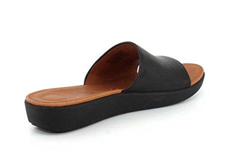 Black 001 Sola Bout FitFlop Slides Femme Sandales Leather Noir Ouvert gqqvx8wz