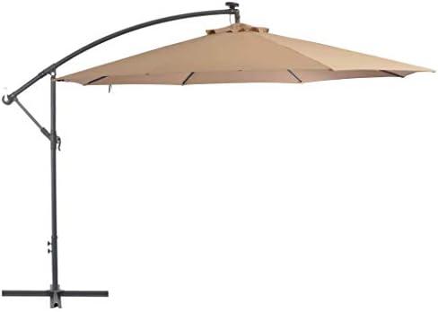 LEDライトとメタルポールを備えたカンチレバーの傘350 cmトープホームガーデン芝生の庭屋外生活屋外の傘サンシェード