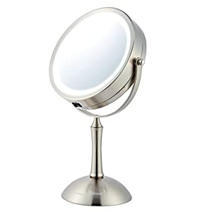 "Ovente Lighted Makeup Mirror - Cool LED Lighting - 1x/8x Magnification - 7.0"" Illuminated Tabletop Vanity Mirror - Cordless, Battery Operated (MDT70BR1x8x)"