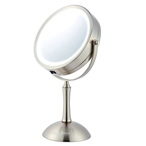 Ovente LED 1x/8x Magnifying Makeup Mirror - 7.0' Lighted Table Vanity Mirror - Cordless, Battery Operated, Illuminated (MDT70BR)
