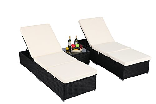 Do4U 3 Pcs Outdoor Patio Synthetic Adjustable Rattan Wicker Furniture Pool Chaise Lounge Chair Set with Table (Black-7003)