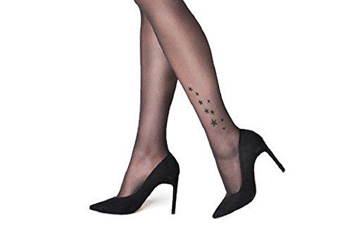 Marilyn Sheer Silky Stars Tattoo Pattern Pantyhose (S/M, Black)
