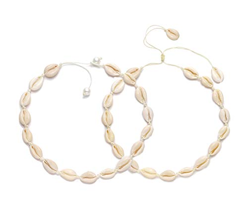 VUJANTIRY Cowrie Shell Choker Necklace for Women Hawaiian Seashell Pearls Choker Necklace Statement Adjustable Cord Necklace Set (White #1) ()