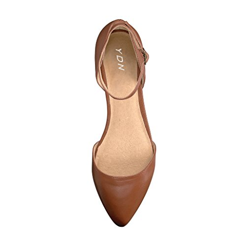 Strap On Casual Flats Brown Walking D'Orsay Ankle Comfort Slip Pointed YDN with Shoes Women Ballet Toe Rgz1Ywnq65