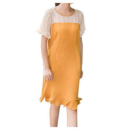 Nihewoo Women Lace Dress Fishtail Skirt Short Sleeve Knee Length Loose Dress Flowy Party Maxi Dress Beach Summer Dresses Yellow]()