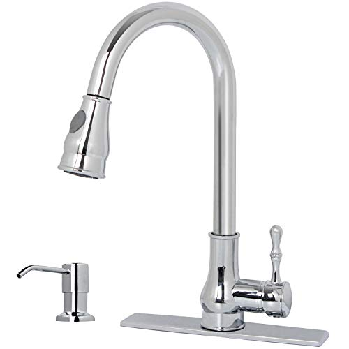 GOOAO Single Handle High Arc Pull Down Pull Out Sprayer Kitchen Faucet with Deck Plate & a Soap Dispenser, Polished ()