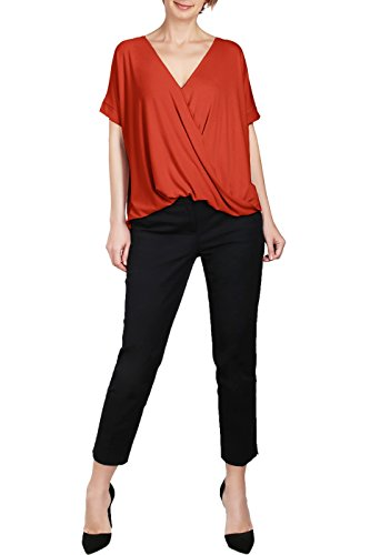 Surplice Draped (BodiLove Women's Surplice Front V Neck Top with Roll up Sleeve Casual Blouse Brick M)