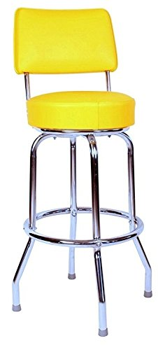 Richardson Seating Swivel bar Stool with Back Chrome Frame and Yellow Seat, 24