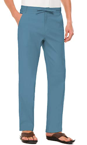 ach Trousers Linen Summer Pants Denim Blue M ()