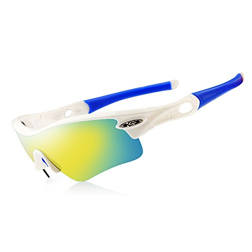 CoolChange Polarized Sports Sunglasses Cycling Glasses with 5 Interchangeable - On Lenses Change Glasses