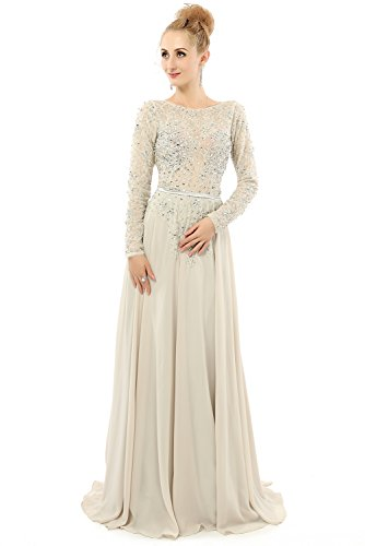 YuNuo Women's Sexy Backless A-line Long Sleeves Beaded Prom Evening Dress US2 (Beaded Gown Chiffon)