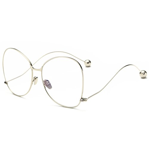 41e3a30eadf SojoS Oversized Clear Lens Glasses Metal Frame Eyeglasses Eyewear with Steel  Ball SJ5005 With Silver Frame Clear Lens - Buy Online in Oman.