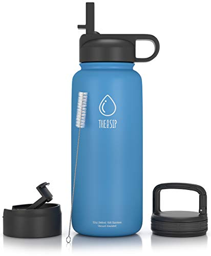 - 32oz Stainless Steel Water Bottle, Extra Three Lids - Straw, Flip and Carabiner Caps, Double Walled & Vacuum Insulated, BPA Free, Powder Coated