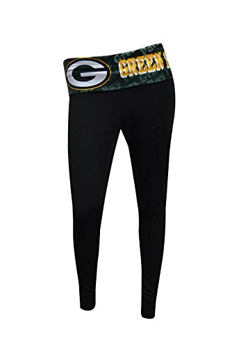 Green Bay Packers Womens Black Cameo Leggings X-Large