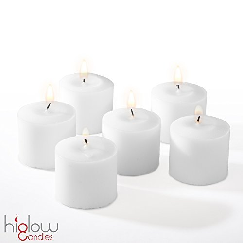Votive Candles Unscented White Wedding 10 Hour Votives Set of 72 Made in the USA HIGLOW