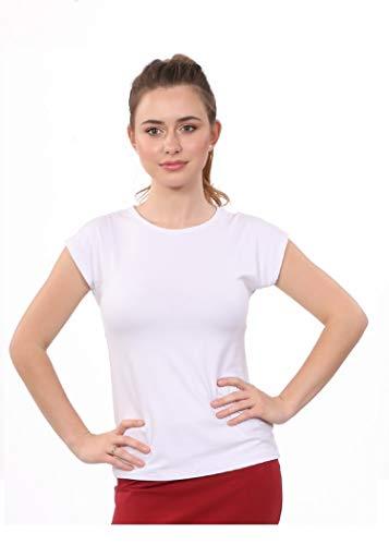 - Kosher Casual Women's Modest Cap Sleeve Crew Neck Undershirt - Layering Tee Medium White