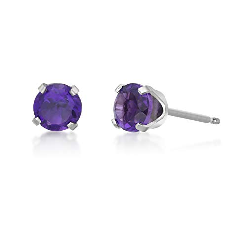 Round 5MM Genuine Gemstone 14K White Gold Stud Birthstone Earrings