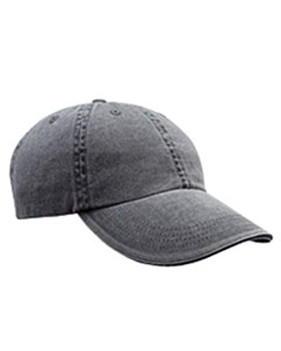 Anvil 166 6-Panel Pigment-Dyed Twill Sandwich Cap Coal One Size