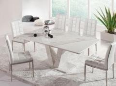 Magnifique table de salle à manger extensible Zeus marbre Blanc/Gris ...