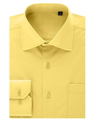 MONDAYSUIT Men's Classic Fit French Cuff Pinpoint Non-Iron Dress Shirt Yellow 18/18.5
