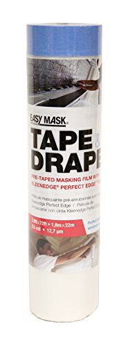 Easy Mask Tape & Drape Pre-Tape Masking Film with 14 day Blue PerfectEdge Tape, 72-Inch X ()