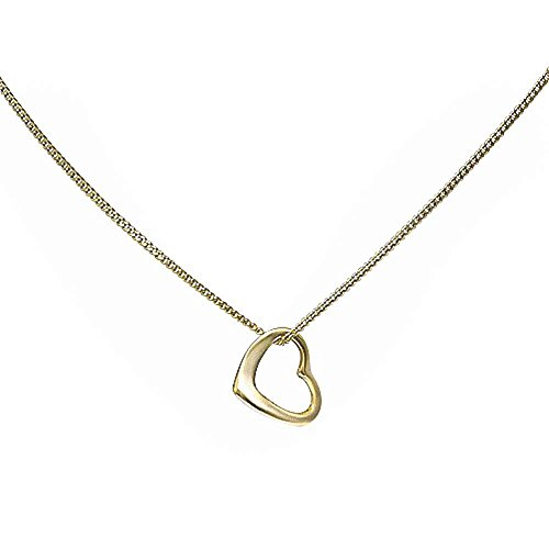 Slanted Heart Pendant Necklace Yellow Tone 925 Sterling Silver (Heart Slanted Necklace Pendant)