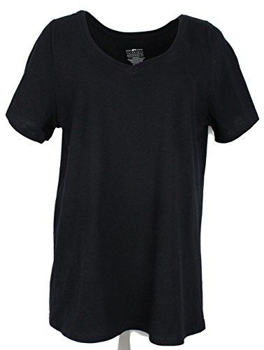 100% Cotton V-neck T-shirt - Genuine Merchandise GM Women's Curvy Plus Size 100% Cotton V-Neck T-Shirt, Short Sleeve (22-24, Black)