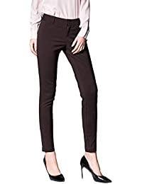 Women's Straight Pants Stretch Slim Skinny Solid Trousers Casual Business Office