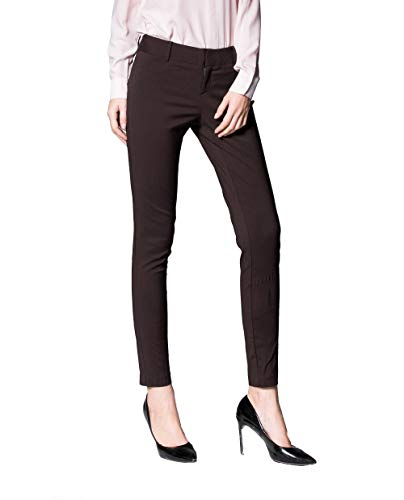 SATINATO Women's Straight Pants Stretch Slim Skinny Solid Trousers Casual Business Office (10 Regular, Brown)