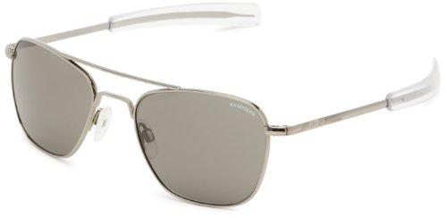Randolph Aviator Square Sunglasses, 52 MM, Gun Metal, Bayonet, Gray ()
