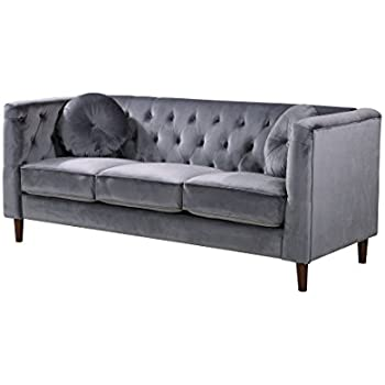 Container Furniture Direct S5374 S Kitts Velvet Upholstered Modern Chesterfield  Sofa, Gray