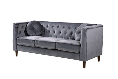 Container Furniture Direct S5374-S Kitts Velvet Upholstered Modern Chesterfield Sofa, Gray