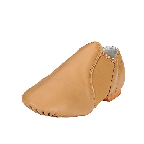 MSMAX Adults Leather Jazz Dance Shoes Brown