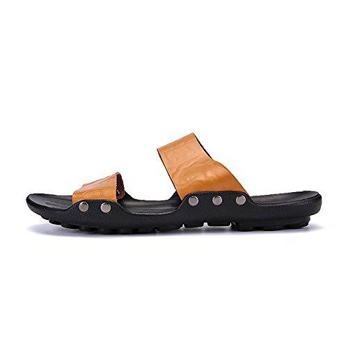 2018 Chaussures Homme d'été Pantoufles à Talon Plat Slip Couleur Unie pour Hommes Marron lhvOE