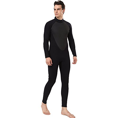 - Realon Diving Suit Men 4/5mm Full Surfing Wetsuit Hoodie Snorkeling Jumpsuit (4/5mm Non-Hoodie Black, Medium)