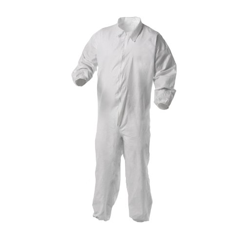 Microporous Film Disposable Coveralls (Kimberly-Clark 38934 KleenGuard A35 Liquid and Particle Protection Coverall with Elastic Wrists and Ankles, Disposable, White (Pack of 25))