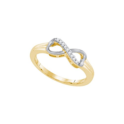 Size - 10 - 925 Sterling Silver Two Tone Gold-Plated Round White Diamond Channel Set Infinity Fashion Ring (.05 cttw) by Sonia Jewels (Image #2)