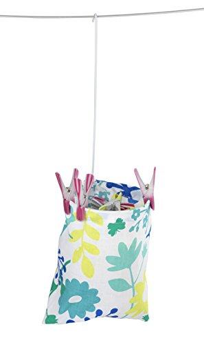 WENKO 3710800100 Wäscheklammer-Beutel - Blumenmuster, 100 % Baumwolle, 20 x 20 x 3.5 cm, Mehrfarbig