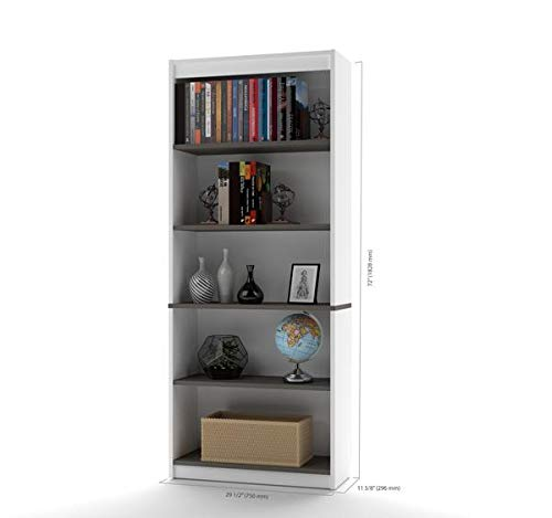 Bes Modern Five-Shelf Bookcase in White and Antigua (Antigua Office Bookcase)