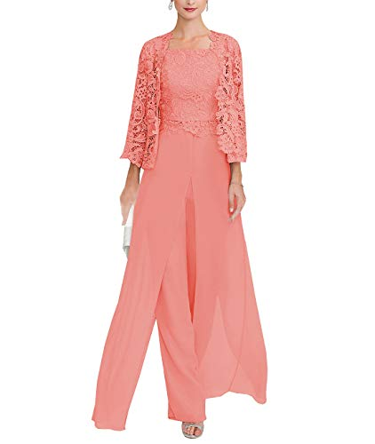 Sexy Women's 3 Pieces Chiffon Mother of Bride Dress Pant Suits with Long Sleeves Appliques Lace Pleat Jacket for Weddinng(US18Plus,Coral) ()