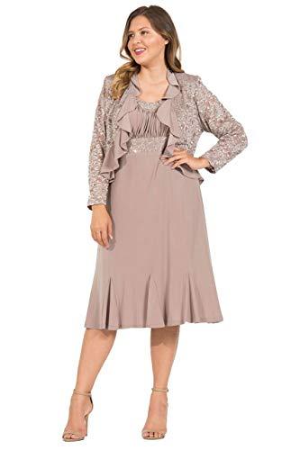 R&M Richards Short Plus Size Mother of The Bride Dress (16W, Mocha)
