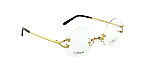 [Gold 49mm Round Size Pure Titanium Rimless Vintage Eyeglass Frame Spectacles G280439] (One Night Stand Costume For Girls)