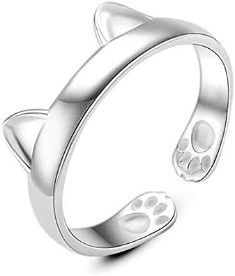 Animal anillos joyas plata de ley 925Beautiful Unique orejas de gato anillo partido mujeres
